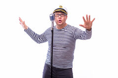 Męski żeglarza piosenkarz na mikrofonie Zdjęcie Royalty Free