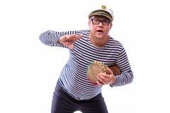 Męski żeglarza piosenkarz na mikrofonie Obraz Royalty Free