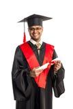 Męski amerykanina afrykańskiego pochodzenia absolwent w todze i nakrętce Fotografia Royalty Free