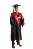 Męski amerykanina afrykańskiego pochodzenia absolwent w todze i nakrętce Obraz Royalty Free