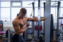 Męski athlet robi sportów ćwiczeń gym strzałowi Obrazy Stock