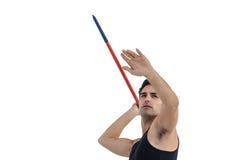 Męski atlety narządzanie rzucać dardę Zdjęcie Royalty Free