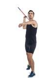 Męski atlety narządzanie rzucać dardę Zdjęcia Royalty Free