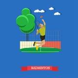 Męski badminton gracz robi roztrzaskanie strzałowi na sądzie Zdjęcia Royalty Free