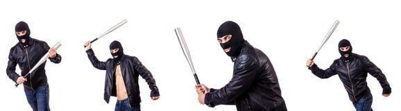 Męski bandyta odizolowywający na bielu Zdjęcia Stock