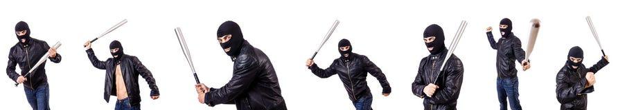 Męski bandyta odizolowywający na bielu Fotografia Stock