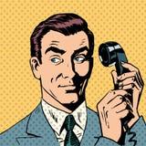 Męski biznesmen opowiada na telefonu stylu wystrzale ilustracja wektor