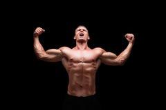 Męski bodybuilder gestykuluje szczęście Obraz Royalty Free
