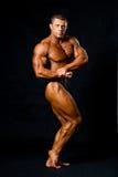 Męski bodybuilder napina jego mięśnie Obrazy Royalty Free