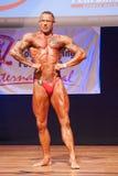 Męski bodybuilder napina jego mięśnie i pokazuje jego najlepszy budowę ciała Zdjęcie Royalty Free