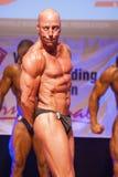 Męski bodybuilder napina jego mięśnie i pokazuje jego najlepszy budowę ciała Fotografia Stock