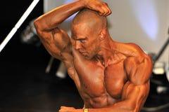 Męski bodybuilder pokazuje jego best Zdjęcia Royalty Free