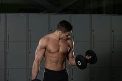 Męski Bodybuilder Robi Wagi Ciężkiej ćwiczeniu Dla bicepsów Fotografia Stock
