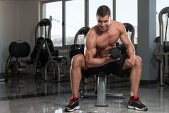 Męski Bodybuilder Robi Wagi Ciężkiej ćwiczeniu Dla bicepsów Obraz Royalty Free
