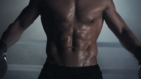 M?ski bokser pokazuje prasy i mi??ni z bliska Bokserskiego pier?cionku t?o Naga atleta pozuje na kamerze zdjęcie wideo