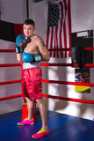 Męski bokser stoi blisko czerwieni co z nagą klatką piersiową w bokserskich rękawiczkach Fotografia Royalty Free