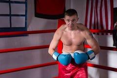 Męski bokser stoi w regula z nagą klatką piersiową w bokserskich rękawiczkach Zdjęcie Stock