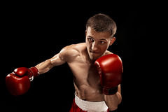 Męski boksera boks z dramatycznym zirytowanym oświetleniem w ciemnym studiu Fotografia Stock