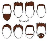 Męski brunet włosy i twarz grzyb projektujemy typ, różnego włosy cięcie, wąsy i brodę, mężczyzna głowa z brunet włosy, facet ilustracji