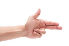 Męski caucasian ręka gest na białym tle obrazy stock