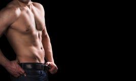 Męski ciało na czarnym tle z kopii przestrzenią Obrazy Royalty Free