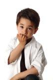 Męski dziecko z ładnym wyrażeniowym główkowaniem Obrazy Stock