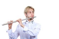 Męski flecista bawić się jego fletowego Obraz Stock