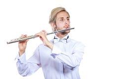 Męski flecista bawić się jego fletowego Obraz Royalty Free