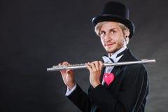 Męski flecista z fletem i sercem Miłości melodia Obrazy Stock