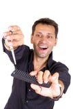Męski fryzjer z nożycami i gręplą Zdjęcia Royalty Free