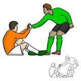 Męski gracz piłki nożnej pomaga each inny w gemowym wektorowym illustr Obraz Royalty Free