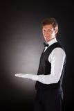 Męski kelner Przedstawia Coś Obrazy Royalty Free