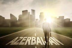 Męski kierownika odprowadzenie na Azerbejdżan słowie Obraz Stock