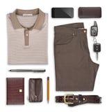 Męski lato odzieżowy i akcesoria odizolowywający na bielu Zdjęcia Stock