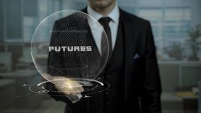 Męski makler, głowa crypto waluty początkowi przedstawienia formułuje przyszłość na jego ręce zbiory wideo