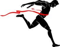 Męski Maratońskiego biegacza zwycięzca ilustracji