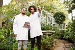 Męski naukowiec wskazuje podczas gdy coworker trzyma cyfrową pastylkę Zdjęcia Royalty Free