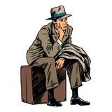 Męski pasażerski czekanie podróży wycieczki styl retro royalty ilustracja