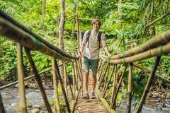 Męski podróżnik na zawieszenie moście w Bali obraz stock