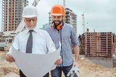 Męski praca budynku budowy inżynierii zajęcia projekt Obraz Stock