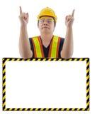 Męski pracownik budowlany z Standardowym budowy bezpieczeństwem wyposaża Obraz Royalty Free