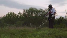 Męski pracownik używa elektrycznej drobiażdżarki i rozcięcia trawy zbiory