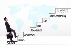 Męski przedsiębiorca z strategia planem na schodkach Obraz Stock