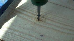 Męski ręka skręt śruba w drewnianą deskę używa władza śrubokręt zbiory wideo