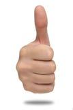 Męski ręka znak z kciukiem up odosobniony Fotografia Stock