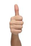 Męski ręka znak z kciukiem up odosobniony Zdjęcia Stock