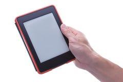 Męski ręki mienia ebook czytelnik Obrazy Stock