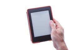 Męski ręki mienia ebook czytelnik Zdjęcia Stock