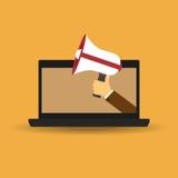 Męski ręki mienia megafon nadchodzący od laptopu out Pojęcie dla cyfrowego marketingu, promoci i reklamy, Płaski projekta wektor  Zdjęcia Royalty Free