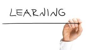 Męski ręki writing uczenie na wirtualnym ekranie Zdjęcie Royalty Free